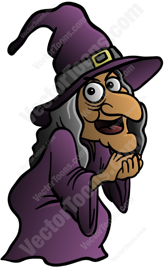 Old Witch With A Big Nose Cartoon Clipart.
