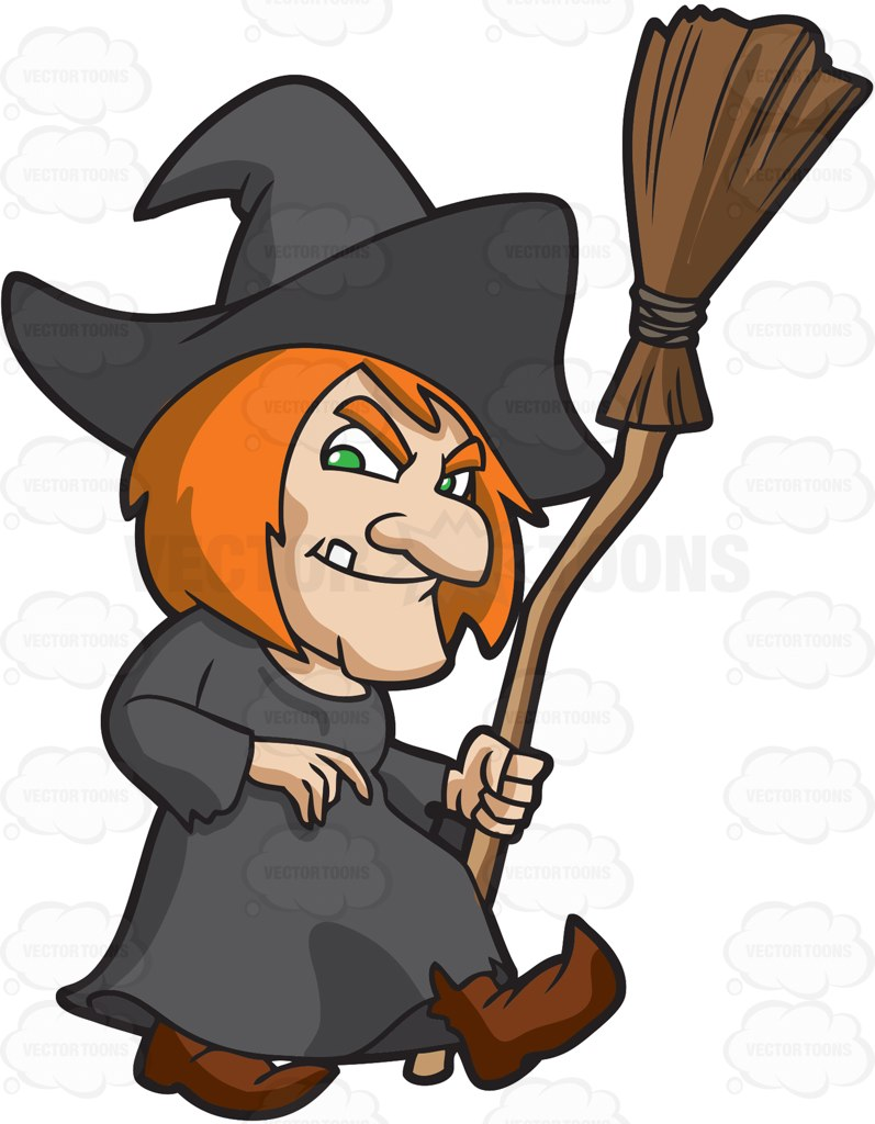 A Creepy Old Witch Cartoon Clipart.