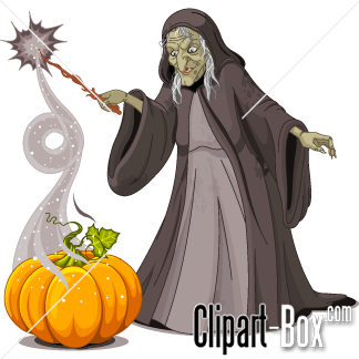 CLIPART OLD WITCH WITH WAND.