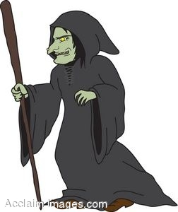 Old Witch With Walking Stick.