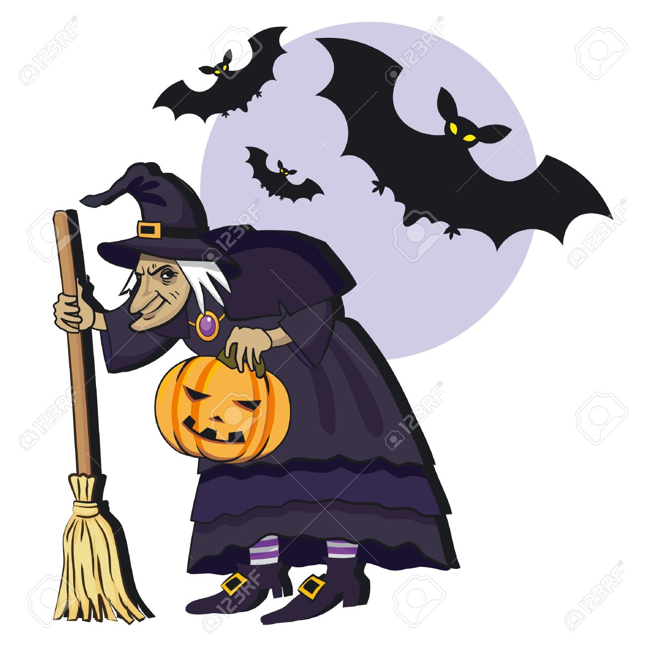 Old Witch With Broom; Cartoon Vector Illustation Royalty Free.