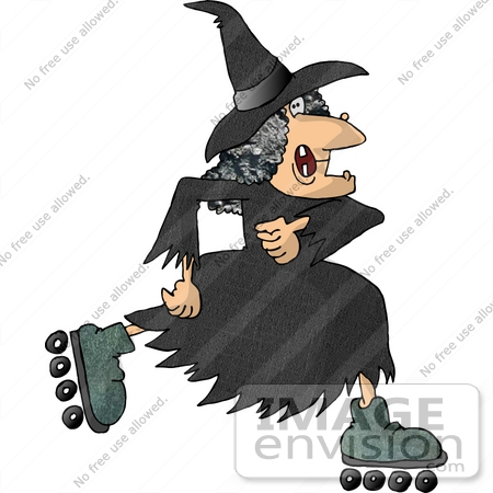 Warty Old Halloween Witch Roller Skating Clipart.