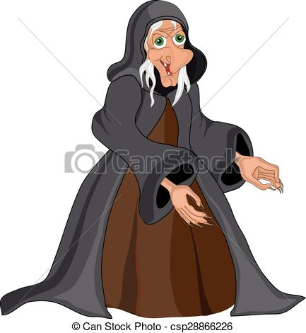 Vector Illustration of Halloween banner .Witch old woman.