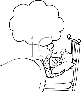 Woman And Man Asleep In Bed Clipart.