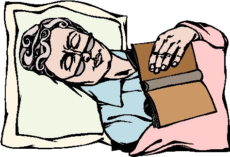 Old Woman And Man Asleep In Bed Clipart.