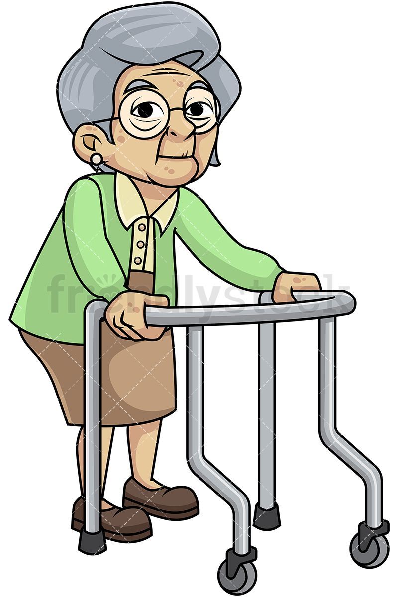 Frail Old Woman With Walker And Glasses.
