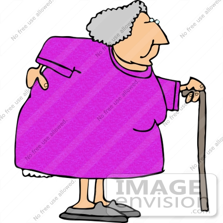 Old Lady With Cane Clipart.