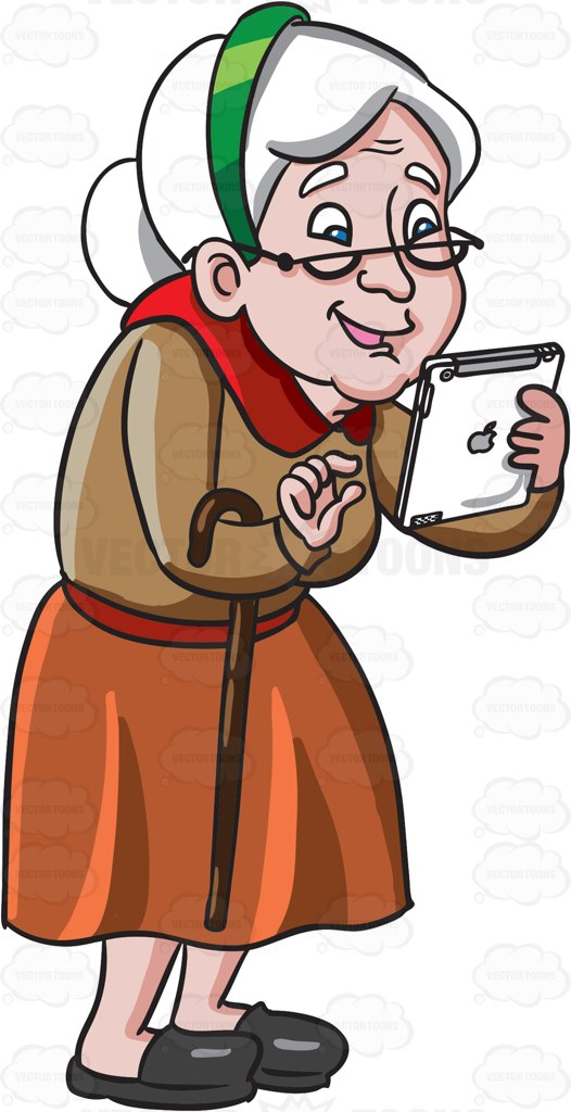 An Old Woman Playing Games In Her Mobile Tablet Cartoon Clipart.