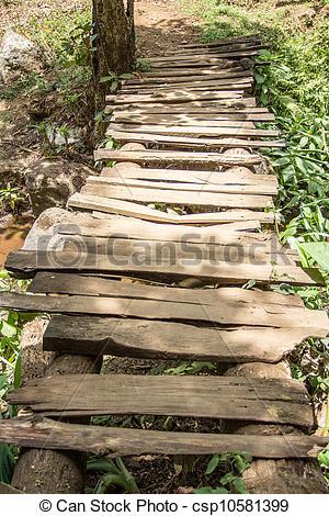 Stock Photographs of Old Wooden Walkway Bridge.