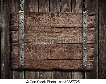 Stock Photo of Medieval wood sign board over old wooden plaque.
