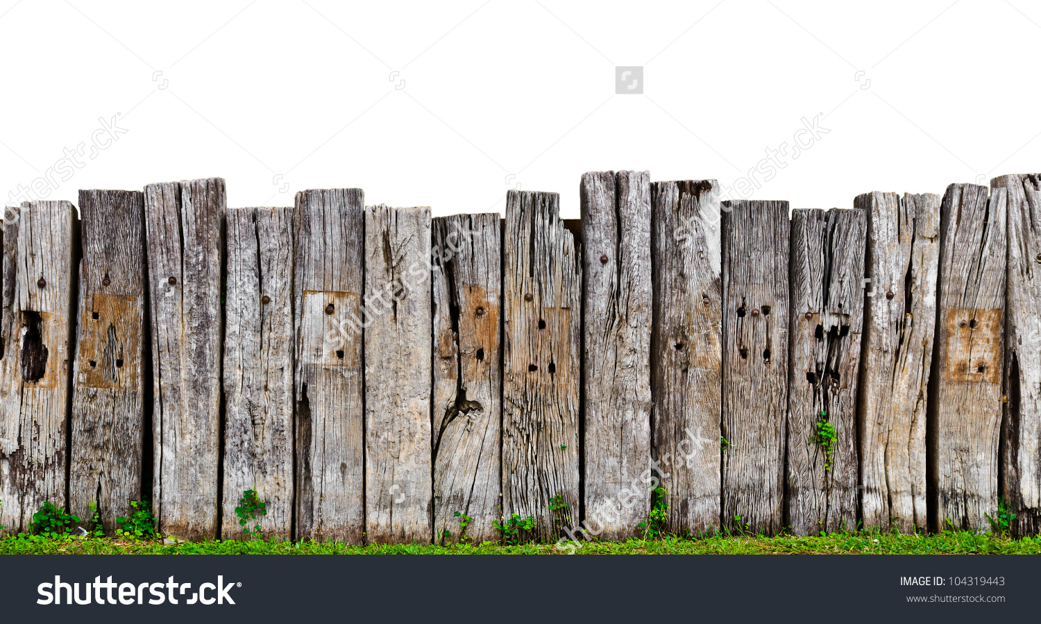 Old Wooden Fence Garden Plant Stock Photo 104319443.