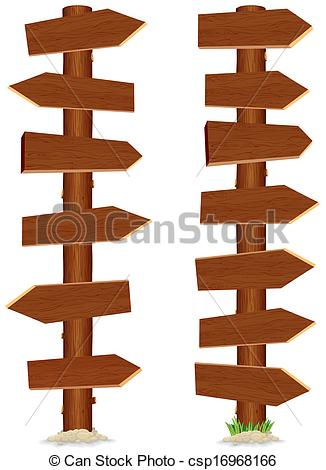 Clip Art Vector of Huge and Tall Wooden Sign. Vector Illustration.