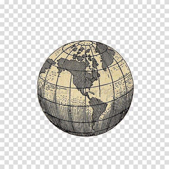 Brown old globe map, Globe Earth Tattoo World map, globe.