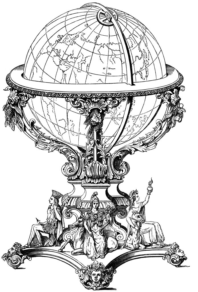Small mini vintage rotating italian old world wood globe zodiac.