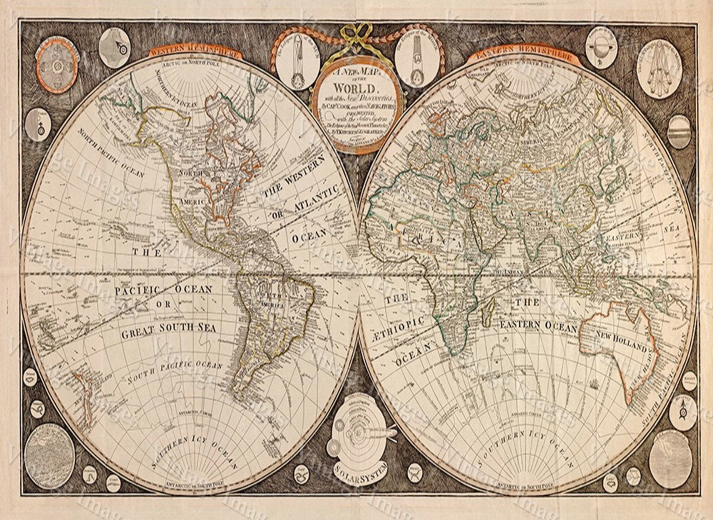 Old World Map Giant Historic map 1799.