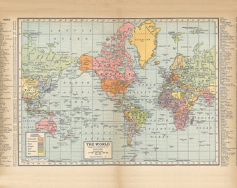 Vintage World Map PRINTABLE.