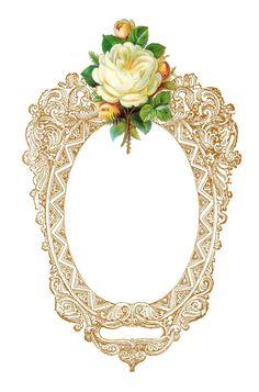 Antique Images: Free Digital Frame: Printable Frame with Pink Rose.