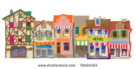 Old City Facades Stock Vector Illustration 78404104 : Shutterstock.