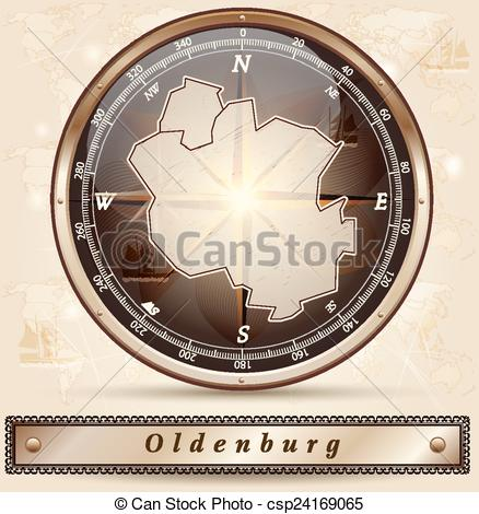 Clip Art Vector of Map of oldenburg with borders in bronze.