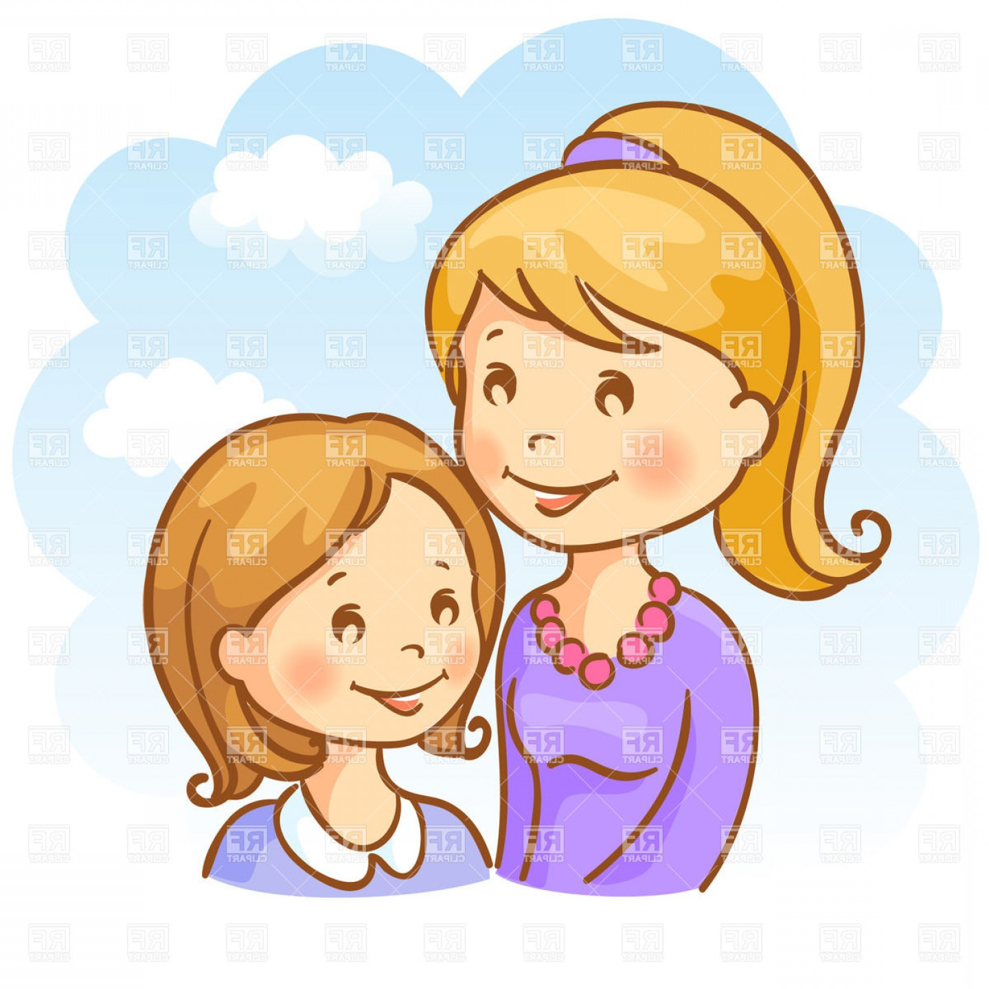 Two Sisters Junior And Elder Vector Clipart.