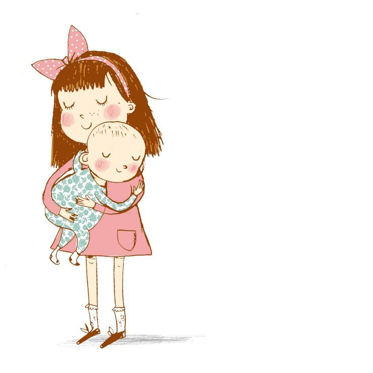 Image result for older sister and baby sister clipart.