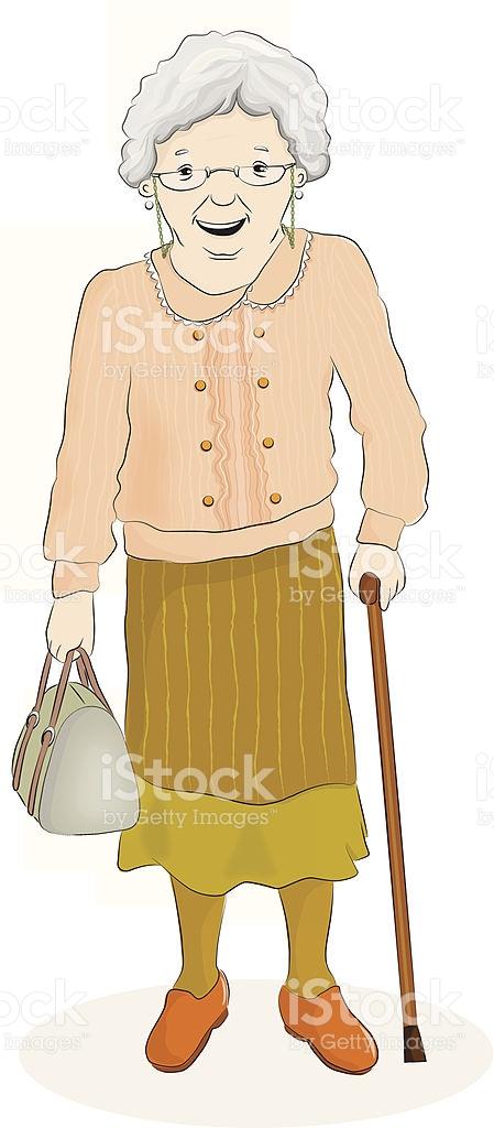 Old Woman Standing stock vector art 494096021.