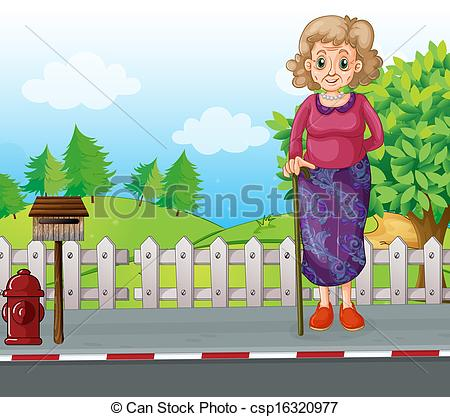 Clipart Vector of Old woman with a cane. Vector illustration on.