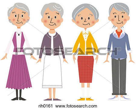 Clipart of Illustration of four older women standing side by side.