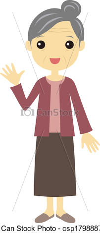 Old Woman Standing Clipart.