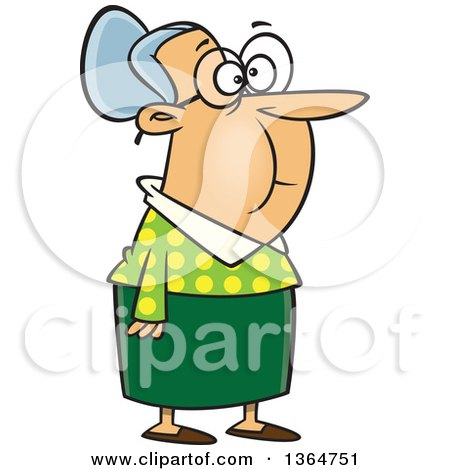 Cartoon Clipart of a Black and White Senior Woman Standing and.