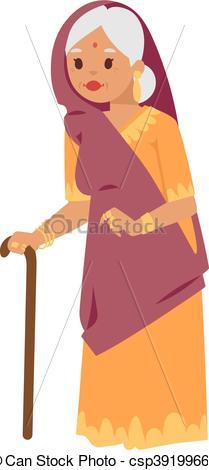 Clip Art Vector of Vector illustration indian grandma.