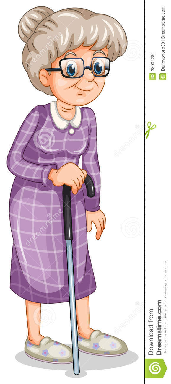 Showing post & media for Cartoon old lady standing.