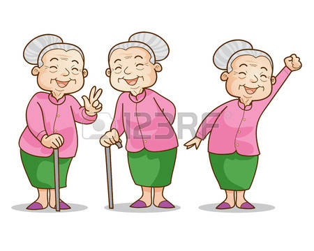 Older Asian Woman Clipart.
