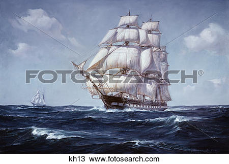 Stock Photo of Painting Of The Square Rigged Frigate U.S..