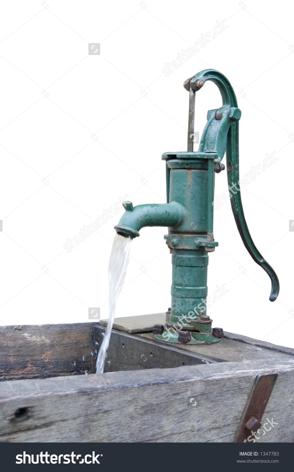Old Fashioned Water Pump Above Drinking Stock Photo 1347783.