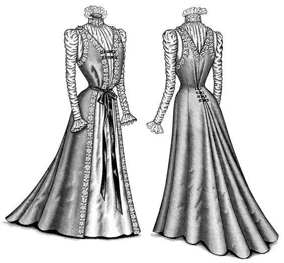 Victorian fashion illustration, Victorian dress clip art, black.