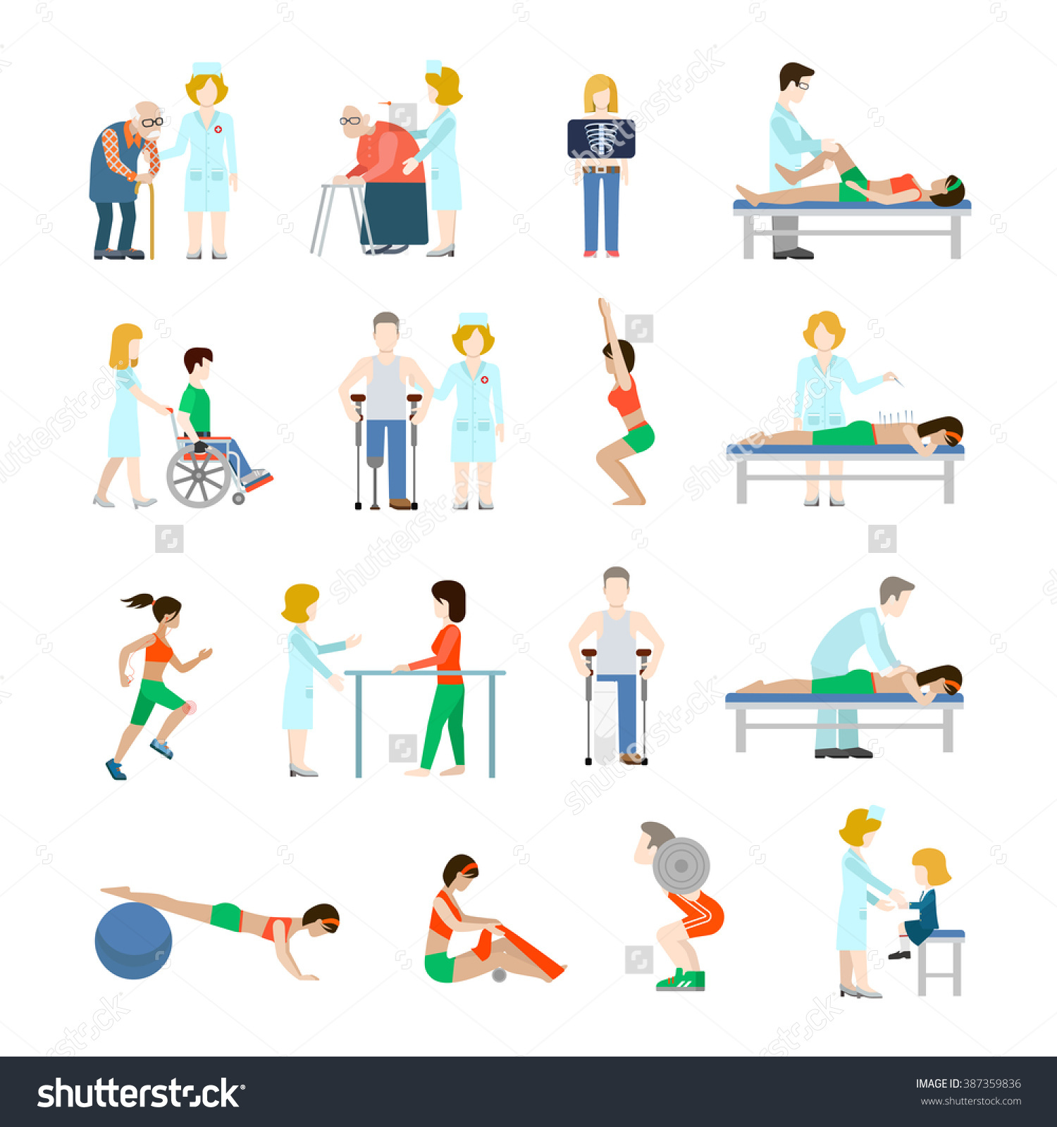 Flat Style Modern People Icons Oldies Stock Vector 387359836.