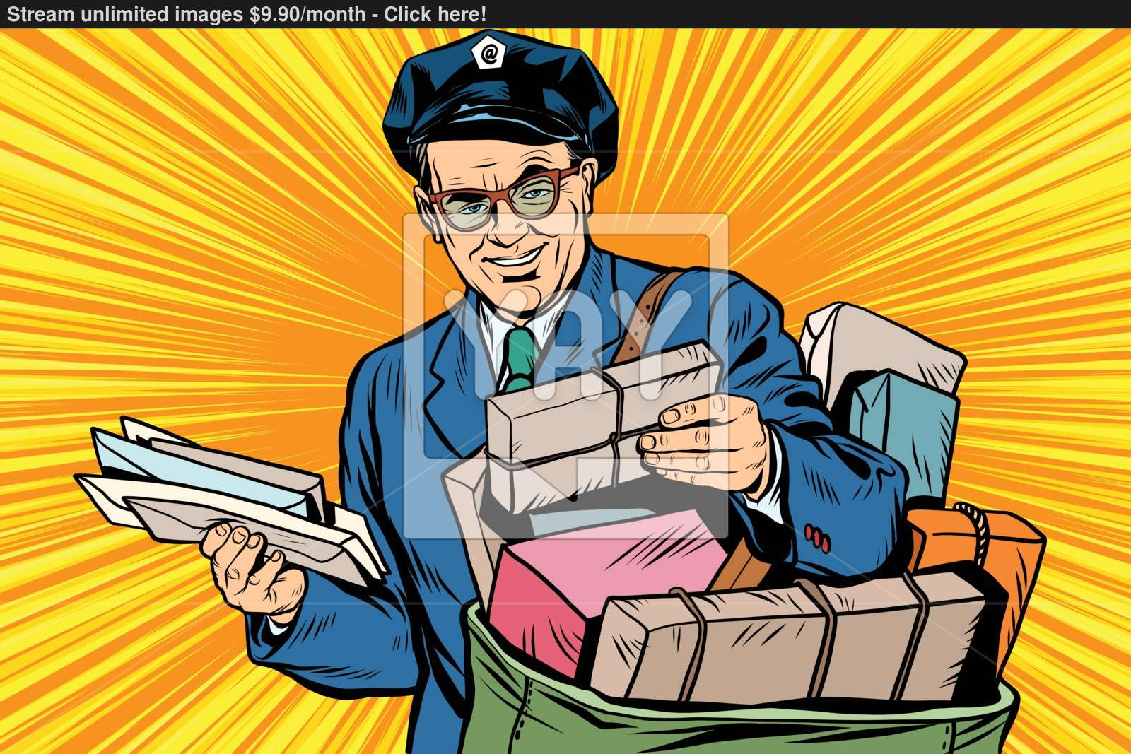 Cheerful retro oldster postman pop art vector.