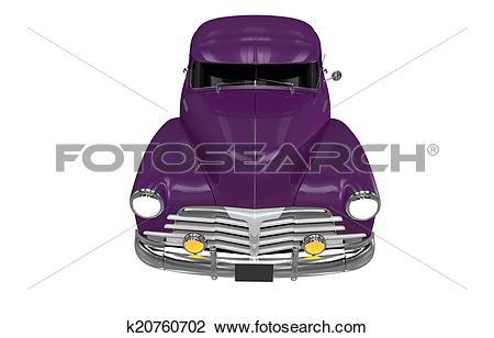 Clip Art of Violet Classic Car Front View k20760702.