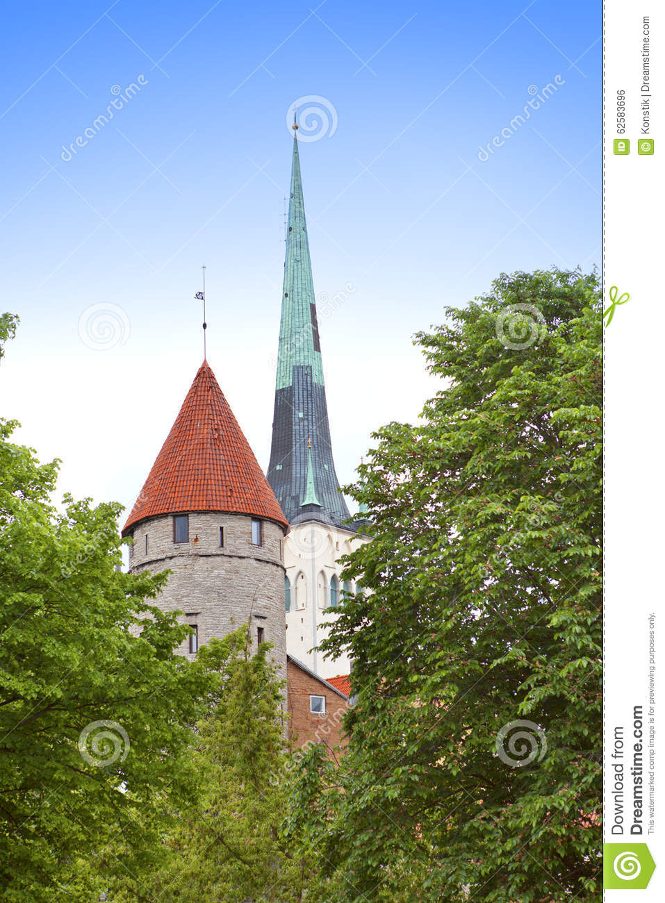 St Olaf (Oleviste) Church And Medieval Tower . Tallinn, Estonia.