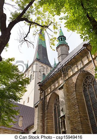 Stock Photography of St Olaf (Oleviste) Church. Tallinn, Estonia.