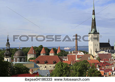 Stock Photo of St. Olaf's Church, Oleviste Kirik, towers of the.