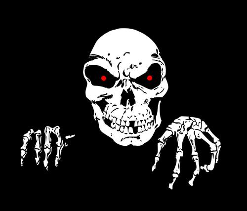 Crânio com olhos vermelhos.