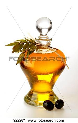 Stock Photography of Olive oil with olive twig and olives 922971.