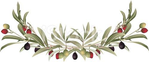 Decorative Olive Branch Border Clipart Image.
