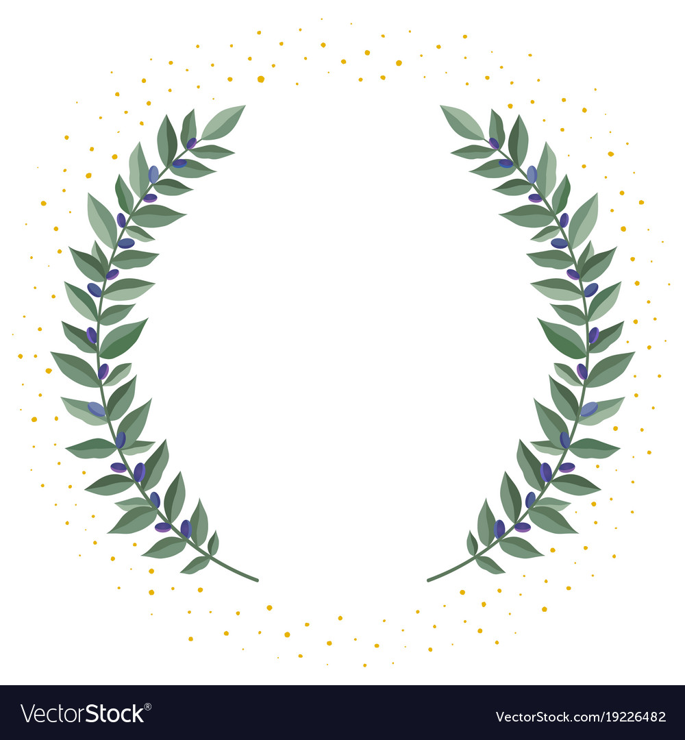 Black olive branches wreath on a white background.