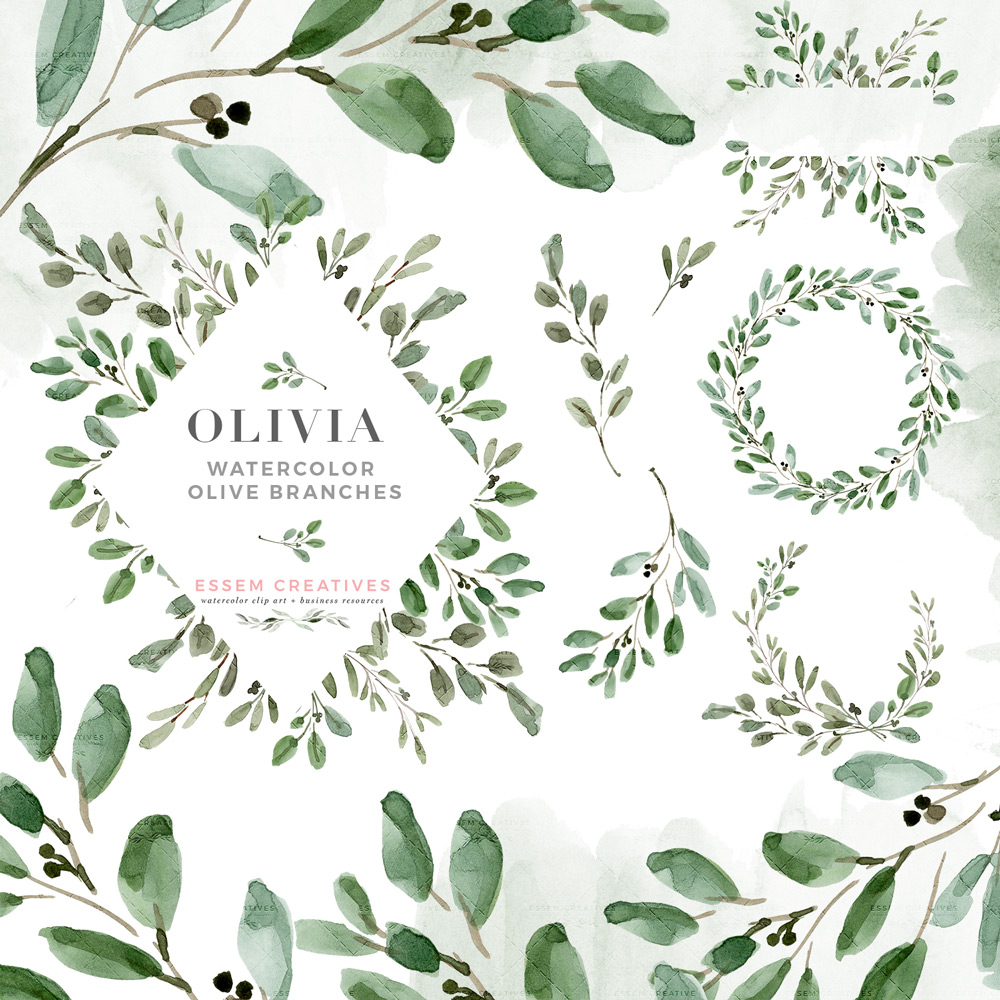 Watercolor Olive Branch Leaves Clipart, Rustic Laurel Wreath Clipart,  Greenery Wedding Invitation.