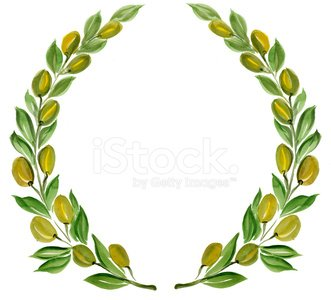 olive branch wreath Clipart Image.