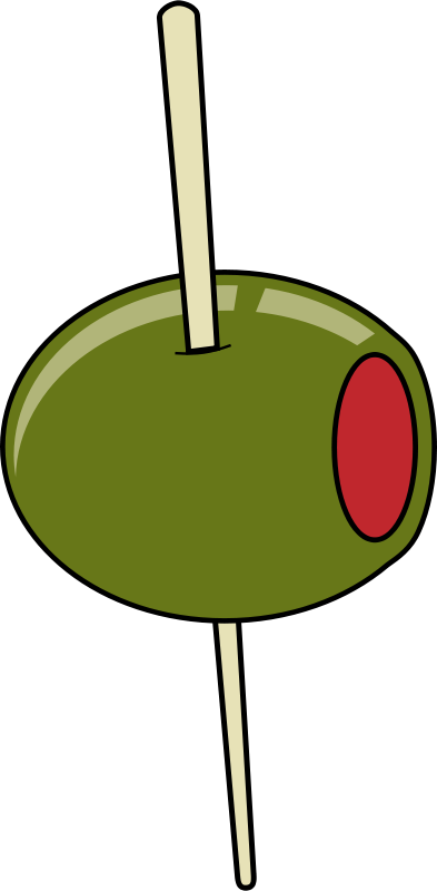 Free Clipart: Green olive on a toothpick.