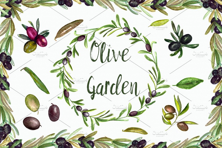 Watercolor Olive Garden Clipart ~ Graphic Objects ~ Creative.